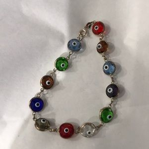 925 Sterling Silver Evil Eye Bracelet Multicolor